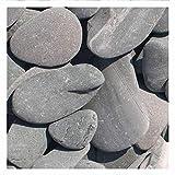 Flat Pebbles Grün Zierkies, 30-60mm, schöner flacher Stein mit güner Farbe, dekorativer Zierkies für den Garten, 20 kg Sack (Mindestbestellmenge 15 Stück), Kieselsteine, Ziersplitt