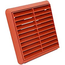 Kair Louvred Air Vent Wall Grille - 100mm Round Spigot - Terracotta - SYS-100 - DUCVKC244-TC by Kair