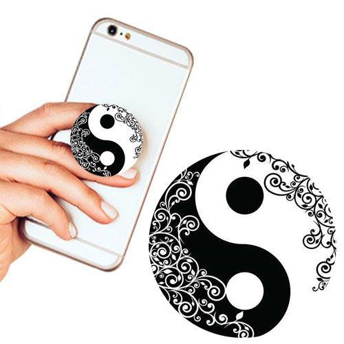 Pop Phone Grip ausziehbarer Ständer Multifunktionaler Smartphone-Halter Universal Telefon Finger hands Socket Halterung - yin yang(Weiß schwarz Mandala Blumen) (Lila Eule Iphone 5 Fall)