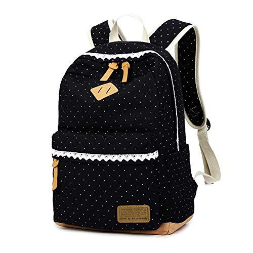 Mädchen Rucksack KHDZ Schulranzen Segeltuch Alltagtasche mit Punkten Spitzen 7 Fächern Groß für 15,6 Zoll Laptop perfekt für Freizeit Schule Reise EINWEG (Schwarz)