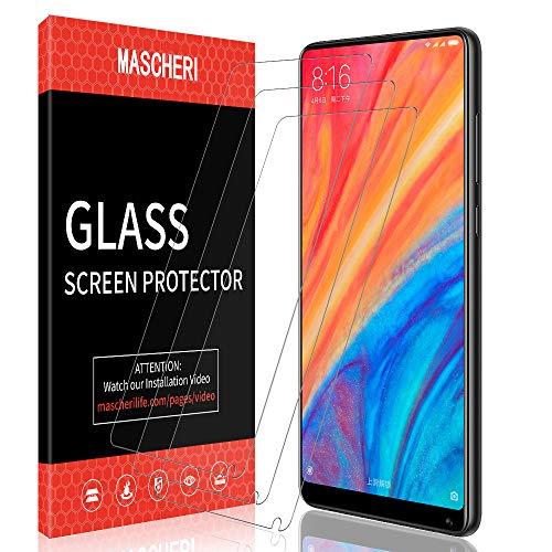 MASCHERI Schutzfolie für Xiaomi Mi Mix 2s Panzerglas Panzerglasfolie, [3D Abger&ete] [Vollständige Abdeckung] [Ausrichtungsrahmen Einfache Installation] Gehärtetem Glas Bildschirmschutzfolie