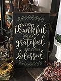 Monsety Thankful Grateful Blessed Schild So Very Thankful Schild, 11 x 18 cm, Landhausdekoration, christliches Zuhause, rustikales Kamindekoration, Holzschild, Basteln für Wohnzimmer, Dekoration.