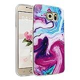 Handyhülle für Samsung Galaxy S6, Asnlove Ultra Dünn TPU Silikon Hülle Case Cover Marmor Motiv mit IMD Schale Backcover Tasche Schutzhülle für Samsung Galaxy S6 G920F, Granit lila