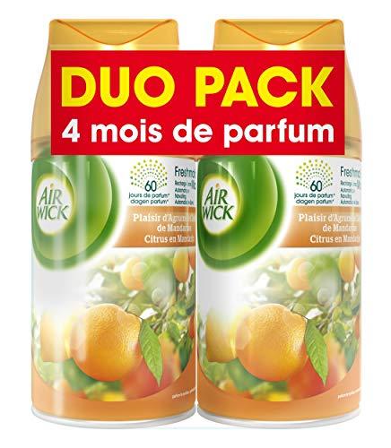 Air Wick Desodorisant Pack de 2  Recharge pour Diffuseur FreshMatic Plaisir dAgrumes et Zeste de Mandarine Duo Pack