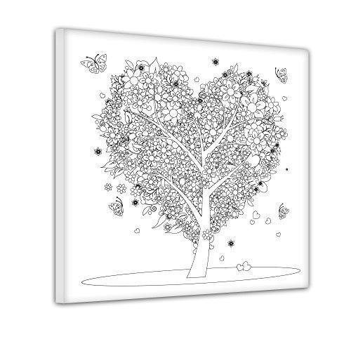 Bilderdepot24 Baum aus Herzen - Ausmalbild auf Leinwand, aufgespannt auf Rahmen - Quadrat-Format - 50x50 cm