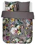 ESSENZA Bettwäsche Fleur Blumen Pfingstrosen Tulpen Baumwollsatin Taupe, 135x200 + 1 X 80x80 cm