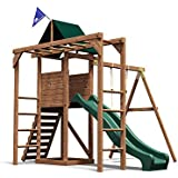 Dunster House MonkeyFort Wilderness Wooden Children's Outdoor Climbing Frame Play Tower with Monkey Bars, Swing & Slide - Pressure Treated Timber