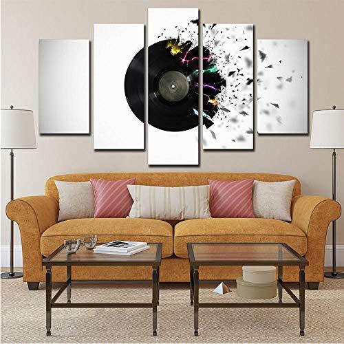 Xzfddn Gerahmte Bilder Hd Gedruckt Musik Cd Leinwand Gedruckt 5 Stück Hall Decor Modulare Abstrakte Malerei Moderne Kunst Bar Wanddekoration-30X40/60/80Cm,With Frame