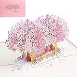 Haorw POP UP Blumen Grußkarten für Weihnachtsgeburtstags Hochzeits Einladung (rot) (rosa)