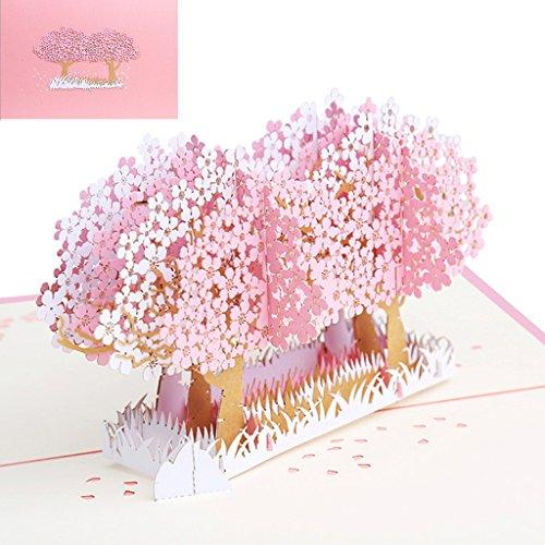 jiamins 3D Pop up Romantische Blumen Baum Grußkarte handgefertigt Geburtstag Valentine Weihnachten Hochzeit Einladung, Papier, rose, 7.87