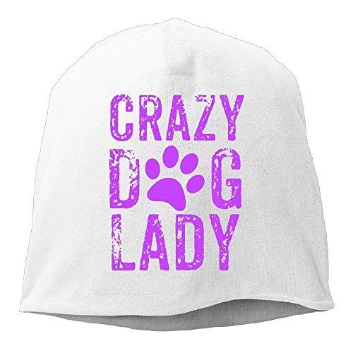 Wdskbg Top Level Beanie Hat Men Women Knit Hat Crazy Dog Lady Cotton Skull Cap Crazy Fleece Hüte