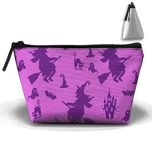 Trapezoid Kosmetiktaschen Pinsel Beutel Halloween Hexe Make-up Tasche Zipper Wallet Hangbag