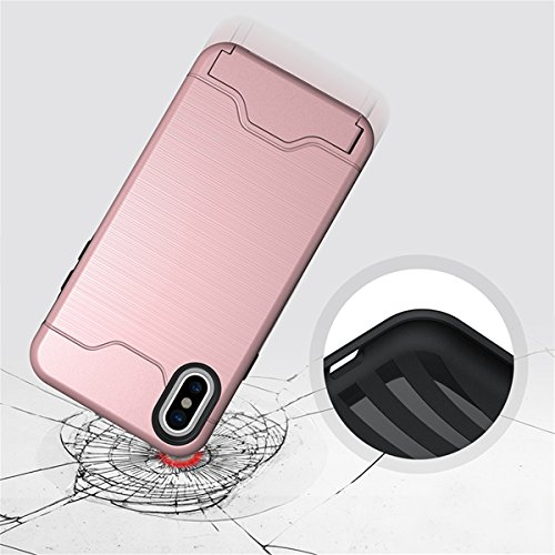 iPhone X Hülle, MOONMINI Dual Layer Hybrid Weiche TPU + Hart PC Bumper Schale Brieftasche Card Slot Handy Tasche Case Slim Fit Full Protection Schutzhülle für iPhone X (2017) Schwarz Rose Gold