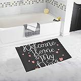 Handschriftliche Inschrift Welcome Home My Dear Custom rutschfeste Badematte Teppich Bad Fußmatte Boden Teppich für Badezimmer 20 X 32 Zoll