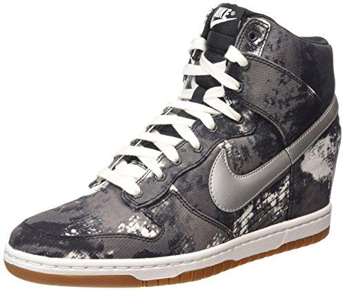 Nike - Dunk Sky Hi Print, Sneakers da donna Black/Metallic Silver/Volt/Gum Med Brown
