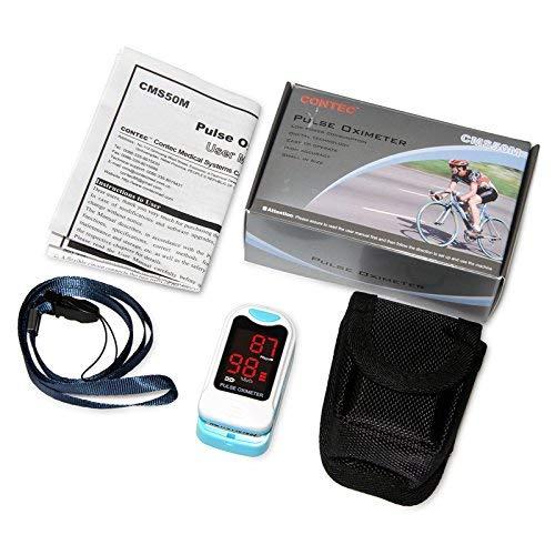 Contec LED cms50m Pulsoximeter, SpO2und PR Wert Wellenform Blut Sauerstoff, Tragetasche, Hals/Handgelenk Kordel