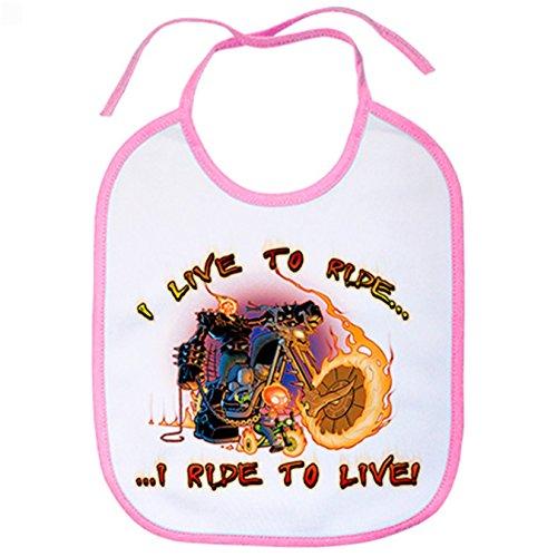 Babero para moteros I Live To Ride I Ride To Live - Rosa