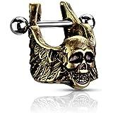 Pierced Owl Winged Skull Cartilage Helix Cuff Earring in 316L Stainless Steel