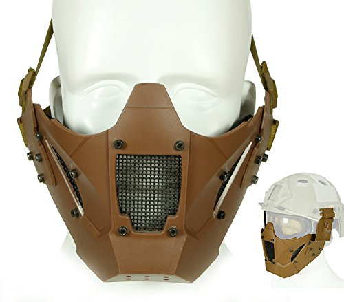 (ATAIRSOFT Airsoft Tactical Schutz Half Face Mesh Mask Fit Fast Helm Schiene für Jagd Paintball CS Spiel BB Gun Shootin (Tan))