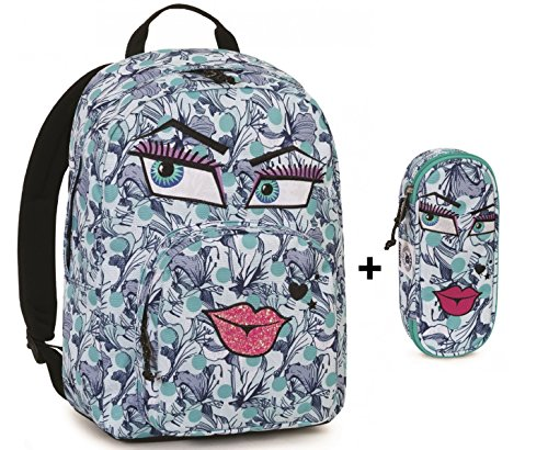 Zaino invicta - ollie pack face + astuccio portapenne lip face - blu fantasia bacio - tasca porta pc padded - americano 25 lt