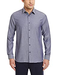 Blackberrys Mens Dress Shirt (8907196539272_MSDOE53IBEN17NLQ_44_Ink Blue)