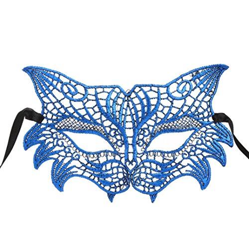 Leuchten Prinzessin Kostüm Blau (Malloom® Masquerade Lace Maske Catwoman Halloween Ausschnitt Prom Party Maske Zubehör)