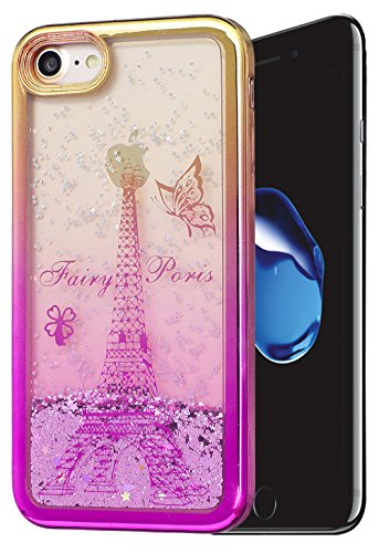 Iphone 7 Coque Silicone, Coque Iphone 7 silicone, Iphone 7 Protection, Nnopbeclik® (4.7 Pouce) Colorful Paillettes Briller Style Backcover Doux Soft Dégradé de Couleur Housse Antichoc Protection Antiglisse Anti-Scratch Etui \\
