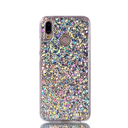 Shinyzone Custodia Huawei P20 Lite,Cover Huawei P20 Lite Bling Brillante Paillettes Design Copertura Protettiva TPU Gel Morbida-Argento