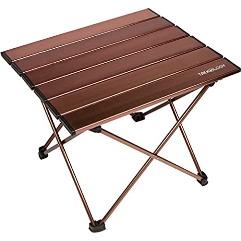 Trekology Camping / Beach Table with Aluminum Table Top – Portable Folding Table in a Bag for Beach, Picnic, Camp, Patio, Fishing, RV, Indoor (Brown, Small
