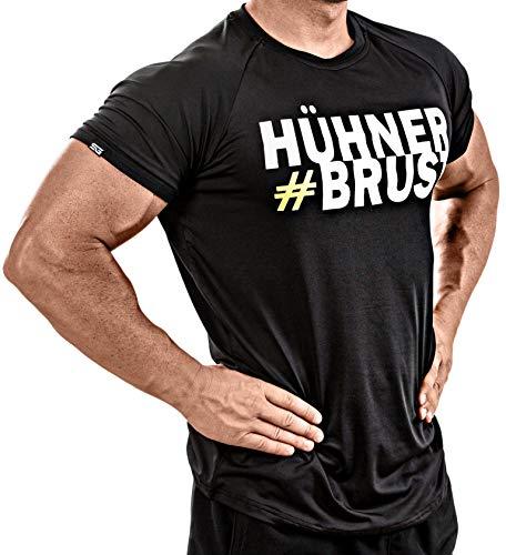 Satire Gym Fitness T-Shirt Herren - Funktionelle Sport Bekleidung mit Satire Charakter - Verschiedene Farben & Motive - Geeignet Für Workout, Training - Slim Fit (#Hühnerbrust schwarz, XXL)