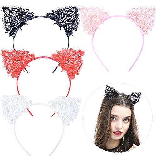 Augoog 4 Stück Katzenohren Haarband, Reizvolle Spitzen Haarreif Katze Ohr Stirnband für Fasching Kostüm-Party,Schwarz,Weiß,Rot,Rosa (Schwarze Und Rote Katze Kostüm)