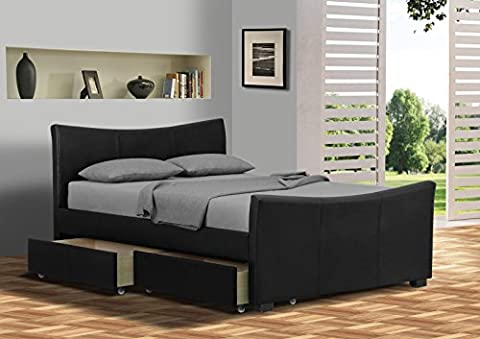 Turin 5FT Kingsize Faux Leather Bed Frame Only in Black, Bedroom Furniture (215 L x 159 W x 97cm)