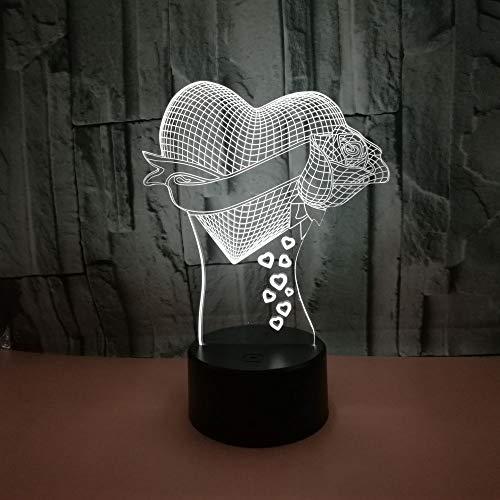 BFMBCHDJ New Love Rose 3D Nachtlicht Bunte Touch Fernbedienung Led Visuelles Licht Valentinstag Geschenk Dekorative Tischlampe A2 Weiß Riss Basis