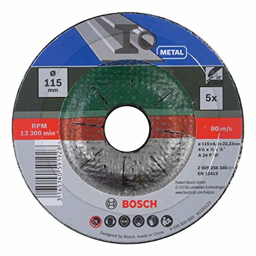 Bosch 2609256340 Grinding Disc Set with Depressed Center for Metal (5-Piece) Test