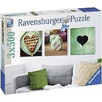 Ravensburger Italy 199211 - Puzzle Tris di Cuori, 3 X 500 Pezzi Quadrati, Multicolore