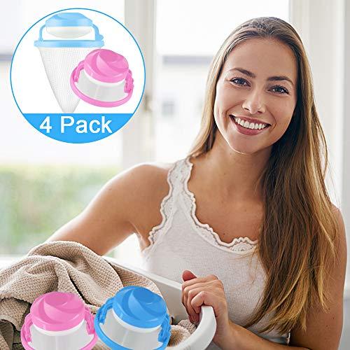 GOEU Filterbeutel Waschmaschine, Flusenfänger Schwimmendes Filtertüte Mesh Fusseltasche Tierhaar und Fusselentferner Haarfänger für Waschmaschine Wiederverwendbar -4PCS