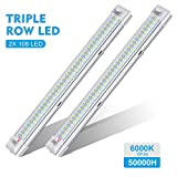 AMBOTHER LED Innenbeleuchtung 2x108 LED Innenraumbeleuchtung 12V DC Einbauleuchte LED Leiste Innenleuchte Unbauleuchte Universal RV Leuchtstofflampe für Camping - Weiß, 2er Pack