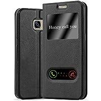 Cadorabo Coque pour Samsung Galaxy S7 en Noir COMÈTE – Housse Protection avec Stand Horizontal, Fente Carte et Deux Fenêtres – View Etui Poche Folio Case Cover