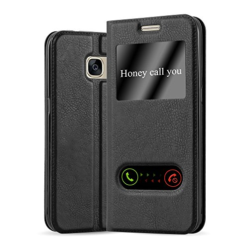 Preisvergleich Produktbild Cadorabo Hülle für Samsung Galaxy S7 - Hülle in KOMETEN SCHWARZ – Handyhülle im Standfunktion und 2 Fenstern (View Design) - Case Cover Schutzhülle Etui Tasche Book Klapp Style
