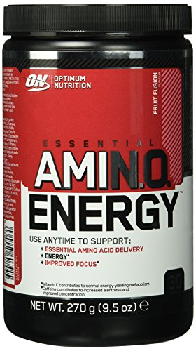 Amino-mischung (Optimum Nutrition Amino Energy Pre Workout Booster Pulver (mit Beta Alanin, natürliches Koffein, Aminosäuren und Vitamin C von ON) Fruit Fusion, 30 Portionen, 270g)