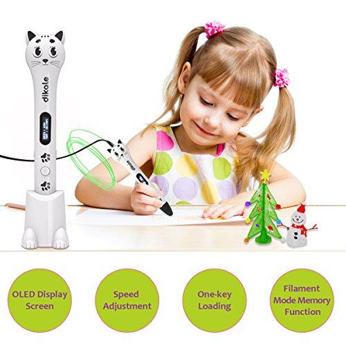 3D Stift Set für Kinder, 3D Stifte mit OLED Display, 2 x 7.5M PLA Filament + 20 Seiten Schablonen für Kritzelei, Basteln, Zeichnung, Kunstwerk, einzigartige Geburtstags-und Weihnachtsgeschenke für Kinder und Erwachsene (Ein-Tasten-Bedienung) - 3