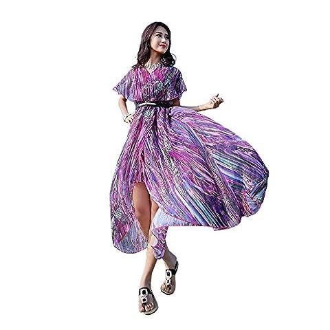Years Calm - Robe - Ajourée - Manches Courtes - Femme - violet - Taille Unique
