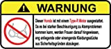 Honda Type-R Motor German Lustig Warnung Aufkleber Decal Sticker