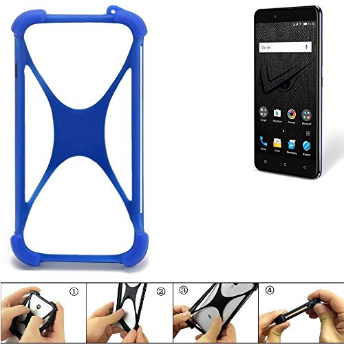 K-S-Trade Bumper Allview V2 Viper XE Silikon Schutz Hülle Handyhülle Silikoncase Softcase Cover Case Stoßschutz, blau (1x)