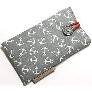 Handytasche Stoff – ANKER AUF GRAU – mit Knopf für APPLE® iPhone® 12 Mini, 8, 7, 6s, 6 und SE 2 (2020) – gepolsterte…