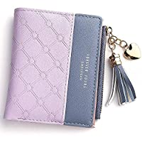 Wallet for Women Leather Short Wallet Bifold, RFID Blocking Wallet Credit Card Holder Organizer with Zipper Pocket Mini Lady Purse (Purple)