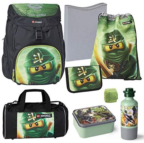 Familando Lego Ninjago OUTBAG Deluxe Schulranzen-Set 8 TLG. mit Federmappe gefüllt, Turnbeutel, Dose, Trink-Flasche und großer Sporttasche Lloyd grün