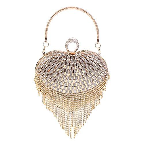 Damara Damen Herzform Kristalle Quaste Satin Handtaschen,Gold (Satin-damen-medium Handtasche)