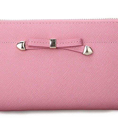 Telefono Pacchetto Borsa A Mano In Pelle Con Cerniera Lunga Portafoglio Ms.,Rosered pink