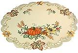 Markenlos herbstliche Tischdecke Rund 60 cm Creme Kürbis Bunt Gestickt Herbst-Decke Halloween-Tisch-Decke (Mitteldecke 60 cm Rund)